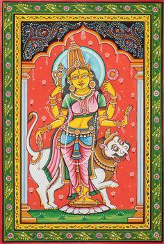 Benevolent Goddess Durga Artist: Rabi Behera Water Color on Patti Indian Traditional Paintings, Indian Art Paintings, Traditional Art, Kalamkari Painting, Madhubani Painting, Basic Painting, Silk Painting, Madhubani Art, Indian Folk Art