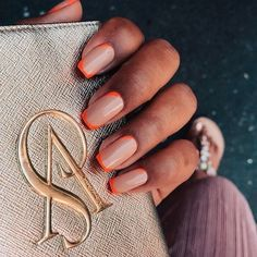 Korean DIY Nail Designs Autumn Orange Nude Candy Coffin Nails Where can we find cheap and beautiful nails? Cute Nails, Pretty Nails, Hair And Nails, My Nails, Pink Tip Nails, Nail Design Glitter, Nails Design, Glitter Nails, Gold Nail
