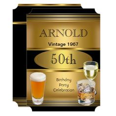Vintage Mens 70th Birthday Party Gold Beer Card