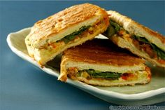 Grilled Cheese and Spinach Panini with mushroom & onion