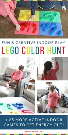 Best Active Indoor Activities For Kids, including a fun Lego Color Hunt! | Gross Motor Games and Creative Ideas For Winter (snow days!), Spring (rainy days!) or for when Cabin Fever strikes | Awesome Boredom Busters and Brain Breaks for high energy Toddlers, Preschool and beyond - see the full list at http://whatmomslove.com