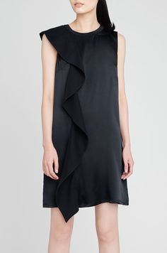 Silk Ruffle Black Dress