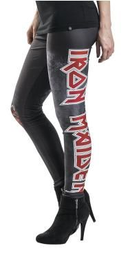 Iron Maiden' Leggings from the Black Premium by EMP Signature Collection:  - 'Iron Maiden' print - elastic waist  With these leggings from the Black Premium by EMP Signature Collection you will definitely make your mark! The print of the band's name 'Iron Maiden' decorates the left leg. On the right leg the cover of 'Iron Maiden's' album 'The Book of Souls' is depicted featuring the band's mascot, Eddie. The title of the 16th studio album by the...