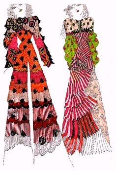 SWEET JANE Biba Fashion, 1969 Fashion, Seventies Fashion, Vintage Fashion, Fashion Brand, Dress Sketches, Fashion Sketches, Fashion Illustrations, 1970s Clothing