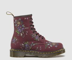 8 Eyelet Boot Belladonna Fine Canvas is a fine weave with a floral print Heel loop Made with Goodyear welt, the upper and sole are heat-sealed and sewn together Dr. Martens air-cushioned sole