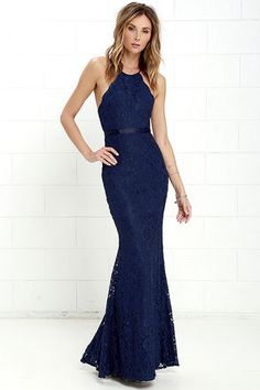 Lovely Navy Blue Gown - Lace Dress - Maxi Dress - $88.00