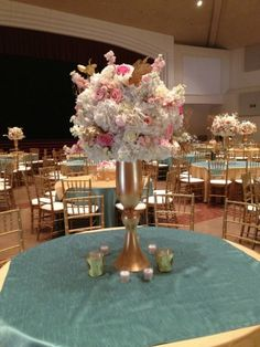 Large Centerpieces, Centerpiece Ideas, Gilded vases, Gold Vases, Gold Weddings, Pink and white weddings, Ideas for centerpieces, hydrangeas centerpieces, Amaryllis,Pink Gold and White Decor, Pink Wedding, Gold Wedding, Posh Floral Designs, Angie Strange, Prestonwood Dallas Campus