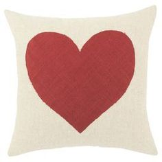 "Linen-cotton pillow with heart.  Product: Pillow   Construction Material:  Linen, cotton and polyester    Color: Natural and red   Features: Zippered closure  Insert includedMade in the USA Dimensions: 17"" x 17"" Cleaning and Care: Spot or dry clean only"