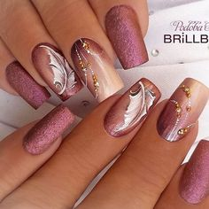 50 artistic nail designs and colors 2019 - . - 50 artistic nail designs and colors 2019 – – - Fancy Nails, Pink Nails, Cute Nails, Pretty Nails, Gel Nails, Silver Nails, Autumn Nails, Fall Nail Art, Beautiful Nail Designs