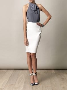 Balenciaga top, Lanvin skirt, Altuzarra shoes - sick work chic and add a cardigan or leather jacket! via Matches.com