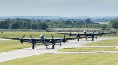 """Two Avro Lancaster bombers <-- """"Vera"""" (Hamilton, Ontario) and Thumper (UK) -- currently touring the UK as a beautiful pair! Drones, Ww2 Aircraft, Military Aircraft, Military Flights, Lancaster Bomber, Supermarine Spitfire, Battle Of Britain, Royal Air Force, Military Vehicles"""