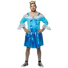 Disney Genderbender LGBT Cinderella Sleeping Belle Costume Beauty Queen Prince Charming Snow White Jasmine Funny Comedic Fancy Dress Crown Bling Blue Gown Skirt