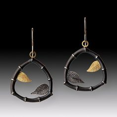 Bamboo+&+Leaf+Earrings by Susan+Mahlstedt: Gold+&+Silver+Earrings available at www.artfulhome.com