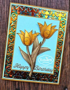 Els van de Burgt created this stunning card using the Tulip Peel-offs in gold (0491). She also used a piece of Turquoise Gemstone Shimmer Sheetz (SS0217) embossed (embossing folder E113) and a Happy Birthday Peel-off (300).