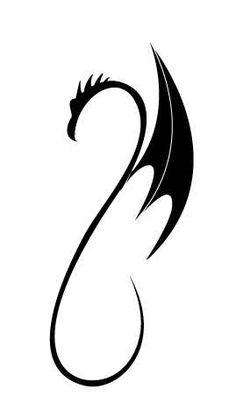 Simple Tribal Dragon Tattoo Design