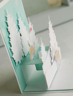 In the Meadow. - PTI Betsy Veldman In the Meadow pop-up card inside side view of Mover & Shaker pop up used Pop Up Christmas Cards, Xmas Cards, Holiday Cards, Kirigami, Fancy Fold Cards, Folded Cards, Paper Cards, Diy Cards, Pop Up Art