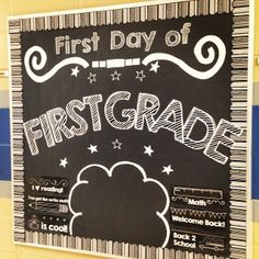 Great first grade bulletin board for first day pictures!