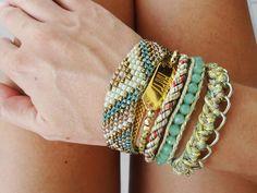 hipanema-brazilian style, multi strand wristband in shades of green, friendship bracelet, boho style by What2WearByNana on Etsy