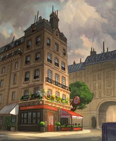 Cafe by Matt Gaser Episode Interactive Backgrounds, Episode Backgrounds, Environment Concept Art, Environment Design, High Fantasy, Fantasy World, Toulouse, Sims, Building Sketch