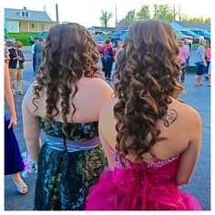 Long flowing curls always go great with strapless dresses.