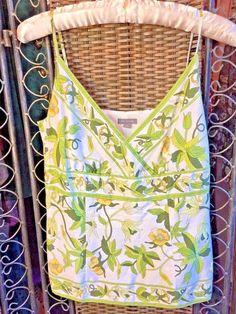 ANN TAYLOR Tank Cami FLORAL GREEN WHITE Summertime Boho FLATTERING EUC sz 2   #AnnTaylor #Halter