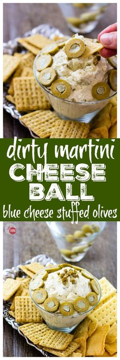 Get your drinking and eating on with my Dirty martini Cheese Ball   Take Two Tapas