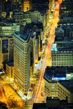 """Flatiron at Night"" by Jorg Dickmann Photography on Flickr ~ This is the Flatiron Building at night photographed from the top of the Empire State Building."