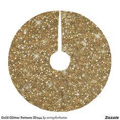 Gold Glitter Pattern ID144 Brushed Polyester Tree Skirt