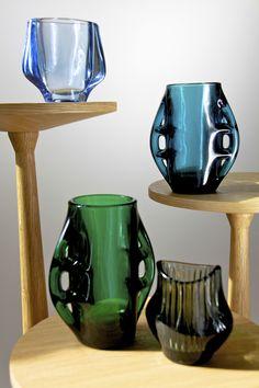 winged pressed glass vase's by Frantisek Vizner for Sklo Union
