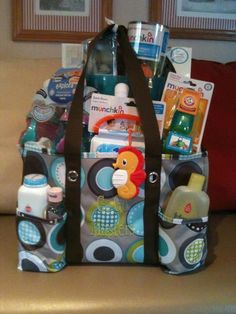 Gift bag I made for Becca's baby shower with the Organizing Utility Tote
