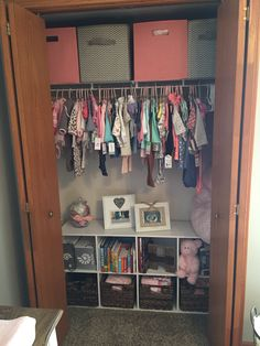 Small nursery closet organization