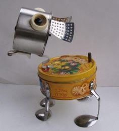 Custom order for Cindy.  OOAK Handmade Bulldog Metal Dog sculpture bot, found object art, found object dog, metal DOG assemblage, dog art