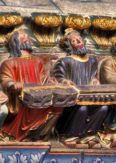 *SPAIN ~ Two of the elders of the Apocalypse playing a organistrum. The central arch provided a large tympanum was dismantled in the XVI century.