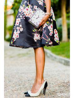 Super Cute! Gorgeous Fabric! Love Cherry Blossoms! Love this Skirt! Love the Clock Bag! Love the Pumps! Sakura Cherry Blossom Pattern Skater Skirt Choies Lookbook Street Fashion #Sakura #Cherry_Blossom #Design #Skater #Skirt #Lookbook #Fashion