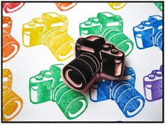 hand carved camera stamp