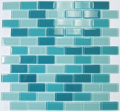 Amazon.com: Glass Mosaic Tile Subway Off Set Teal for Two: Home & Kitchen