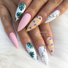 I loveeeeee these ������ #nailpro #thenaillife #amazingnails #nailart #vancouvernails #surreynails #acrylicnails #sarahsnailsecrets… #AcrylicNailsForSummer Tropical Nail Designs, Tropical Nail Art, Cute Nail Designs, Style Tropical, Bright Nail Designs, Stiletto Nail Art, Acrylic Nail Art, Summer Stiletto Nails, Cute Nail Art