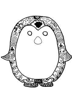 penguin zentangle coloring page - Penguin Coloring Sheet