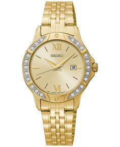 Seiko Women's Gold-Tone Stainless Steel Bracelet Watch 30mm SUR860