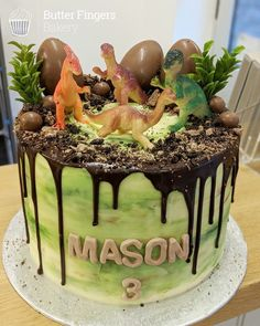 Dinosaur themed cake for a boys birthday