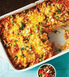 Alternating layers of warm tortillas, spicy tomato chicken and melted cheese make this comforting casserole irresistible.