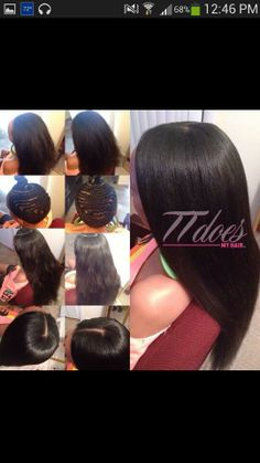 Sew in, braid pattern, flat ironed