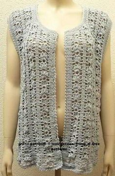 free women's sleeveless cardigan crochet pattern with fantasy stitch                                                                                                                                                                                 More