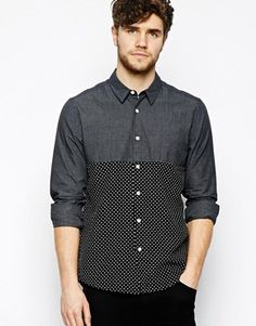 ASOS Shirt In Long Sleeve With Check Contrast Panel