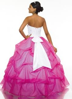 Precioso vestido de fiesta en fucsia y blanco - Amazing prom dress in white and pink