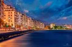 """The promenade of Thessaloniki, looking towards its trademark the """"white tower"""". 6 exposures used here with 1 EV difference, starting from Manual blending in photoshop (aka advanced lightrange recovery method) Macedonia Greece, Cultural Capital, Greek Isles, Architecture Old, Thessaloniki, Santorini, Night Life, The Good Place, Italy"""