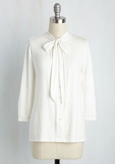 Cross Your Universities Top in Ivory. As you ready yourself for class, this cream, ModCloth-exclusive blouse is the finishing touch! #white #modcloth