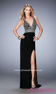 Long Open Back Deep V-Neck Prom Dress by Gigi Style: LF-22888
