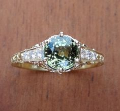 Antique Style Natural Green Sapphire with Diamonds Engagement  Ring 18k Yellow Gold on Etsy, $1,200.00