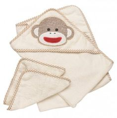 Sock Monkey Terry Towel 2 Washcloth Set.  SO many cute sock monkey baby items on sale at Totsy right now!  Too bad the clothes only go up to 12m, so too small for a first birthday gift.
